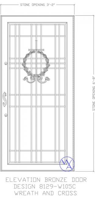 DOOR-Single-8129-W105C-Wreath-wCross-Var