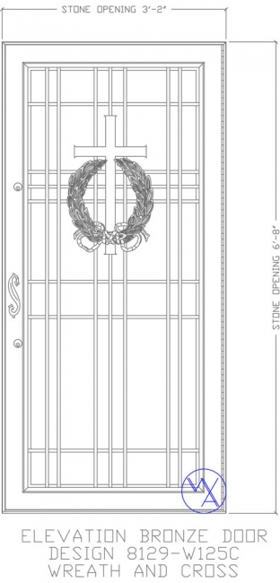 DOOR-Single-8129-W125C-Wreath-Cross-Var